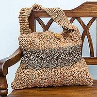 Jute shoulder bag, 'University' - Artisan Crafted Jute Shoulder Bag in Orange and Brown