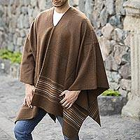 Men's alpaca blend poncho, 'Peaceful Earth'