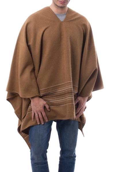 Men's alpaca blend poncho, 'Calming Earth' - Fair Trade Men's Light Brown Alpaca Blend Poncho from Peru