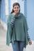 100% alpaca poncho, 'Teal Trends' - Teal 100% Baby Alpaca Fair Isle Knit Poncho (image 2b) thumbail