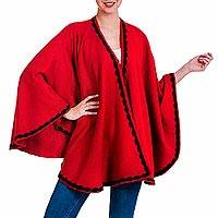 Alpaca blend ruana, 'Enchanted' - Artisan Crafted Alpaca Blend Ruana Wrap in Red and Black