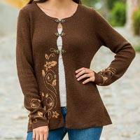 100% baby alpaca cardigan, 'Chocolate Honeysuckle' - Dressy Brown Floral Baby Alpaca Wool Cardigan for Women