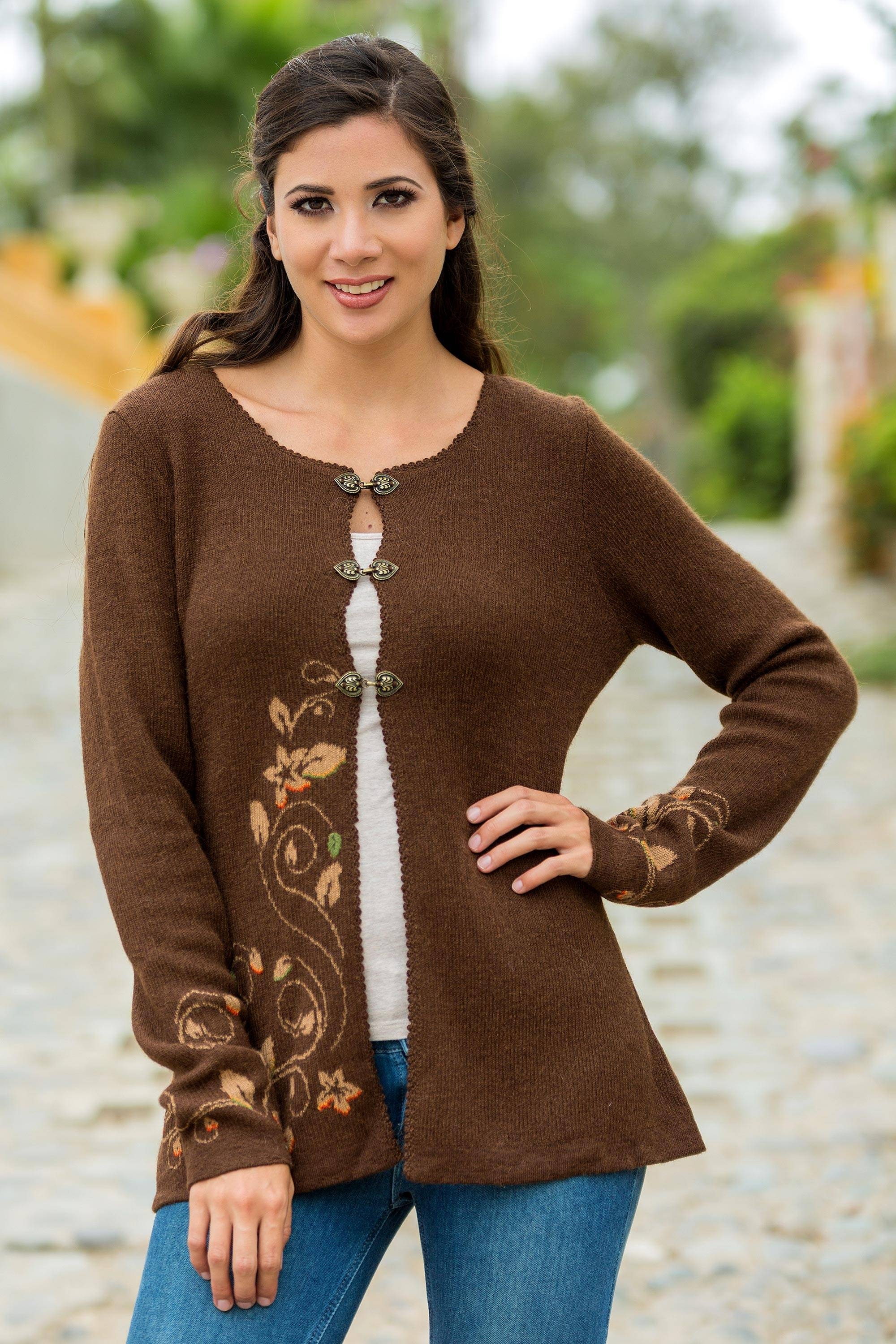 Floral Women Wool for Alpaca Chocolate Baby Dressy Cardigan Brown Honeysuckle qwxSYt4