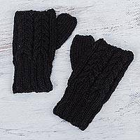 100% alpaca fingerless mitts, 'Andean Ebony' - Hand Knitted Women's 100% Alpaca Black Fingerless Gloves