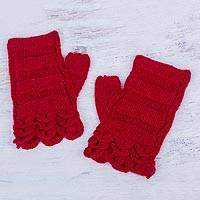 100% alpaca fingerless mitts, 'Scarlet Petals' - Red Hand Knitted 100% Alpaca Fingerless Mittens