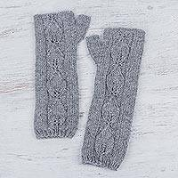 100% alpaca fingerless mittens, 'Grey Leaf Motif' - Heather Grey 100% Alpaca Long Fingerless Mittens from Peru