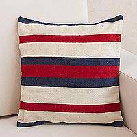 Wool cushion cover, 'Symmetry in Red and Blue' - Handwoven Ivory Wool Cushion Cover with Blue and Red