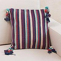 Wool cushion cover, 'Andean Jacaranda' - Purple Striped Handwoven Wool Cushion Cover from Peru