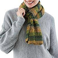 100% alpaca scarf, 'Mountain Green' - Peruvian Fair Trade 100% Alpaca Colorful Wrap Scarf