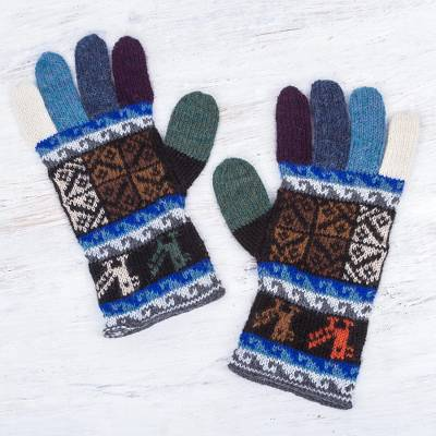 100% alpaca gloves, 'Peruvian Patchwork in Blue' - Artisan Crafted 100% Alpaca Colorful Gloves from Peru