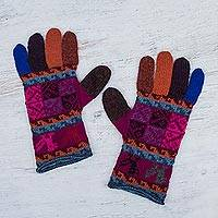 100% alpaca gloves, 'Andean Tradition in Magenta' - Artisan Crafted 100% Alpaca Multi-Colored Gloves from Peru