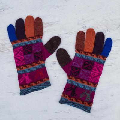 100% alpaca gloves, 'Peruvian Patchwork in Magenta' - Artisan Crafted 100% Alpaca Multi-Colored Gloves from Peru