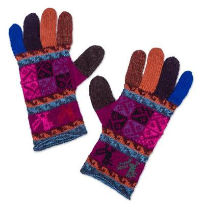 100% alpaca gloves, 'Peruvian Patchwork in Magenta' - Artisan Crafted 100% Alpaca Multi-Colored Gloves from Peru