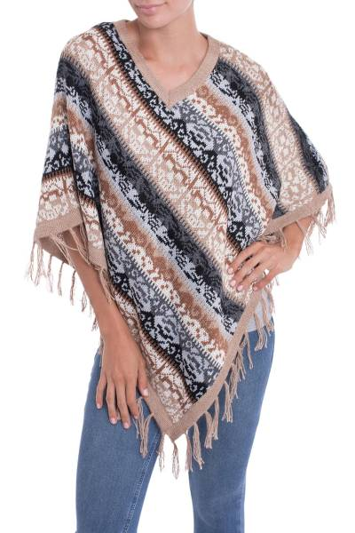 Alpaca blend poncho, 'Desert Iconography' - Soft Alpaca V-neck Peruvian Poncho with Inca Cats and Glyphs