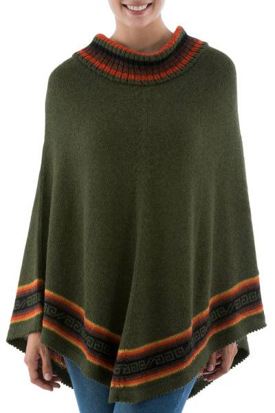 Alpaca blend poncho, 'Forest Inca' - Peruvian Alpaca Blend Forest Green Turtleneck Poncho