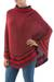 Alpaca blend poncho, 'Twilight Felines' - Red Alpaca Blend Turtleneck Poncho with Inca Cat Pattern (image 2b) thumbail