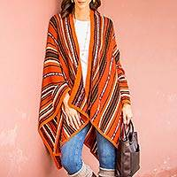 100% alpaca ruana, 'Classic Stripe in Orange'