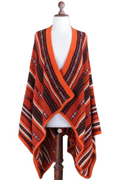 100% alpaca kimono ruana, 'Classic Stripe in Orange' - Artisan Crafted 100% Alpaca Striped Kimono Ruana in Orange