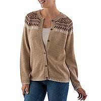 Alpaca blend cardigan, 'Desert Glyphs' - Warm Brown Alpaca Blend Cardigand Wood Buttons from Peru