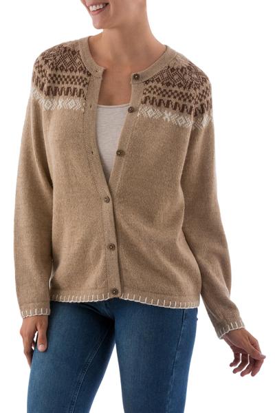 Alpaca blend cardigan, 'Desert Glyphs' - Warm Brown Alpaca Blend Cardigand Wood Buttons from Peru