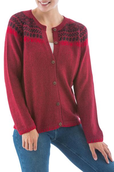 Alpaca blend cardigan, 'Crimson Iconography' - Warm Red Alpaca Blend Cardigan with Wood Buttons