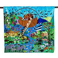 Cotton applique wall hanging, 'After the Flood' - Noah's Ark Folk Art Patchwork Appliqué Cotton Wall Hanging