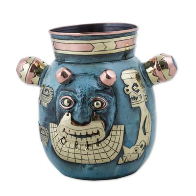 Copper and bronze decorative vase, 'Crying Cat' - Peru Tiahuanaco Culture Cat Vase in Copper and Bronze