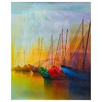 'Golden Day' (2015) - Original Peruvian Seascape in Oil on Canvas