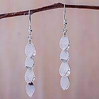 Sterling silver cluster earrings, 'Nascent Leaves' - Andean Silver 950 Leaf Theme Cluster Earrings