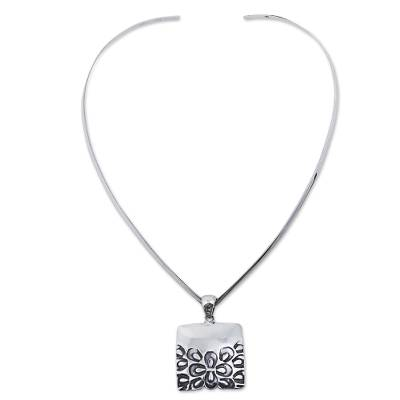 Sterling Silver Choker Pendant with Burnished Flowers