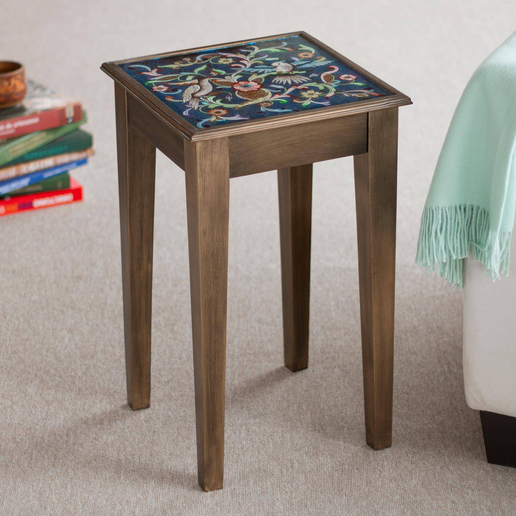 - Hand Painted Glass Top Wood Accent Table - Birds In The Heavens