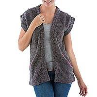 Alpaca blend cardigan vest, 'Burgundy Grey Boucle' - Alpaca Blend Short Sleeve Cardigan in Grey and Burgundy