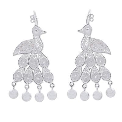 Andean Silver Filigree Peacock Theme Chandelier Earrings