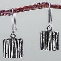 Sterling silver dangle earrings, 'Wilderness Windows' (1.3 inch) - Artisan Crafted Sterling Silver Hook Earrings (1.3 Inch)
