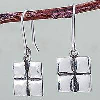 Sterling silver dangle earrings, 'Quarters' - Sterling Silver Earrings Artisan Crafted 925 Peru Jewelry
