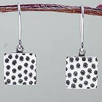 Sterling silver dangle earrings, 'Lunar Surface' - 925 Sterling Silver Artisan Crafted Petite Hook Earrings