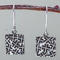 Sterling silver dangle earrings, 'Clover Crosses' - 925 Sterling Silver Square Earrings with Clovers from Peru