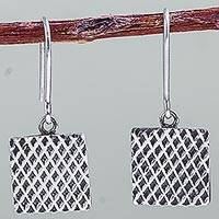 Sterling silver dangle earrings, 'Hypnotic Honeycombs' - Artisan Crafted Sterling Silver Hook Earrings from Peru