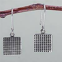Sterling silver dangle earrings, 'Grids' - Square Sterling Silver Earrings Fair Trade Artisan Jewelry