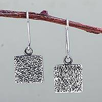 Sterling silver dangle earrings, 'Rustica' - Rustic Style Square Sterling Silver Earrings from Peru