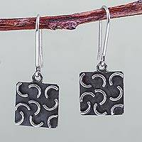 Sterling silver dangle earrings, 'New Moon Squares' - Sterling Silver Burnished Square Earrings Crafted by Hand