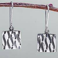 Sterling silver dangle earrings, 'Peruvian Waves' - Fair Trade Artisan Crafted Sterling Silver Dangle Earrings