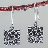 Sterling silver heart earrings, 'Hearts Squared' - 925 Sterling Silver Square Earrings with Hearts from Peru