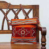 Wool shoulder bag, 'Chacana Cross Messenger' - Andean Handwoven Orange and Red Wool Shoulder Bag