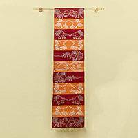 Wool tapestry, 'Red Road to Nazca' - Handwoven Wool Nazca Theme Tapestry in Red and Orange