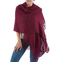 100% alpaca shawl, 'Timeless in Burgundy' - Solid Burgundy 100% Alpaca Shawl from Peru