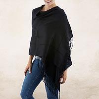 100% alpaca shawl, 'Timeless in Black' - Black Baby Alpaca Handwoven Peruvian Shawl