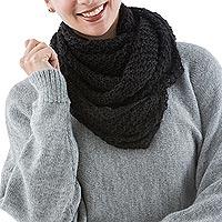 100% alpaca infinity scarf, 'Ebony Web' - Black Hand Knit 100% Alpaca Infinity Scarf