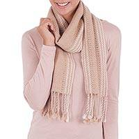100% alpaca scarf, 'Timeless in Beige' - 100% Alpaca Backstrap Loomed Scarf in Beige