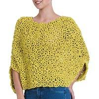 100% alpaca poncho, 'Labyrinthine Yellow' - Short Hand Crocheted Alpaca Poncho in Mustard Yellow